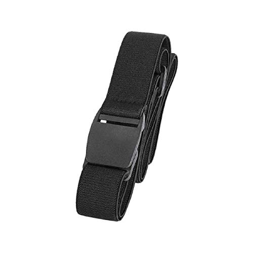 Men's Elastic Stretch Belt Invisible Casual Trousers Webbing Belt Plastic Buckle Black Fits 24' to 42'