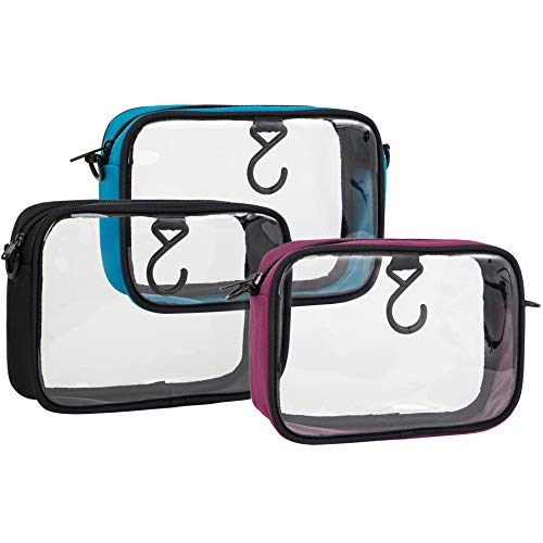 tsa toiletry bags 3-Pack TSA Approved Toiletry Bag Clear Travel Bag Airline Compliant Bag Quart Sized Packing Organizer with Hook and D-rings