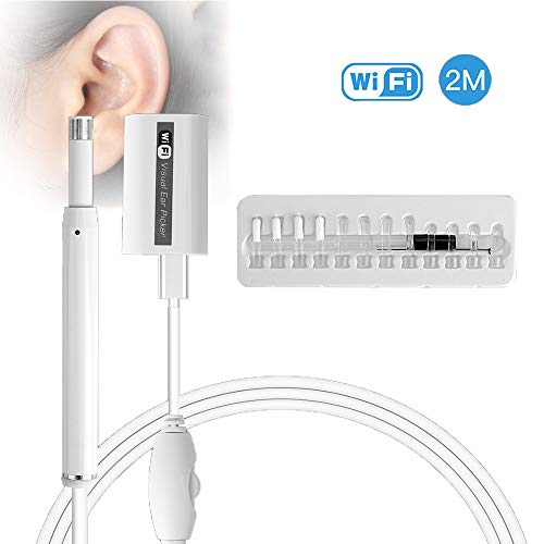 DOLA Endoscopio Auricolare WiFi Strumento di Pulizia Orecchie cerume USB HD 720P di otoscopio per iPhone/iPad/Android/Windows/Mac,Bianca