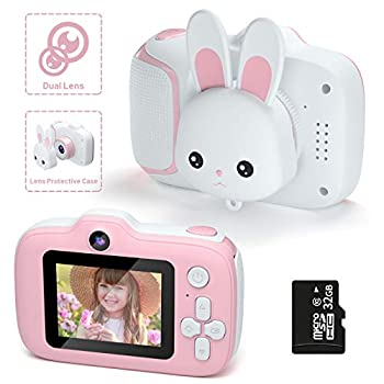 Kids Camera,HONEYWHALE Kid Digital Video Selfie Cameras 2.0 Inch IPS Screen Child Toddler Camera with 32GB SD Card,Best Birthday Toys Gifts for Girls Boys 3-12 Year Old Pink