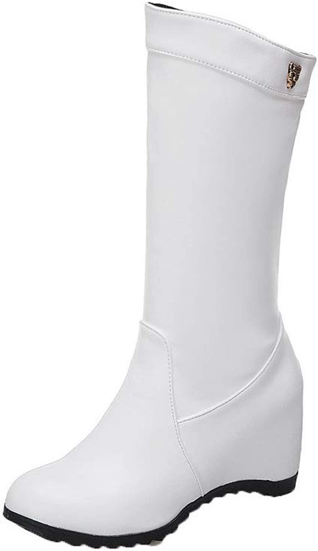 WeenFashion Women's Pull-On Round-Toe Kitten-Heels Pu Mid-Calf Boots, AMGXX116219