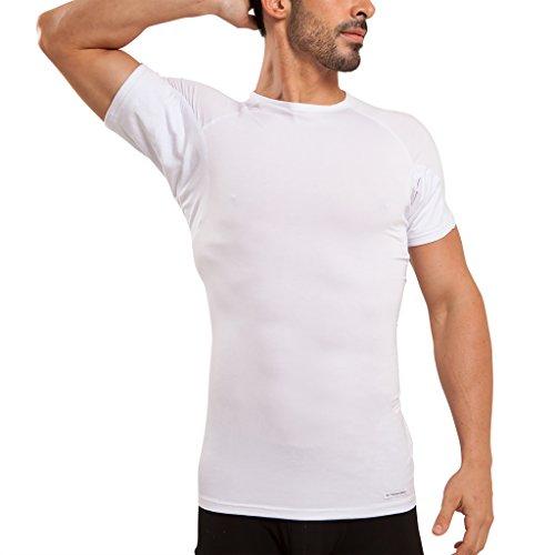 Camiseta Interior de Hombre a Prueba de Sudor Eji, Cuello Redondo, Plata antiolor, Micromodal, Almohadillas para el Sudor (M, White)