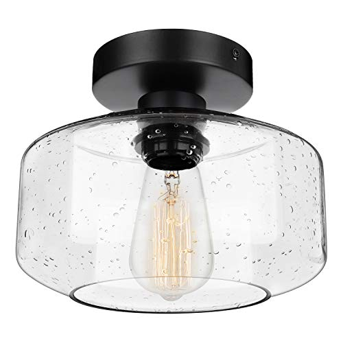 Industrial Semi-Flush Mount Ceiling Light, Seeded Glass Pendant Lamp Shade, Black Farmhouse Lighting for Hallway Porch Corridor Kitchen Bedroom, Modern Indoor Hanging Light Fixtures, Bulb Not Included