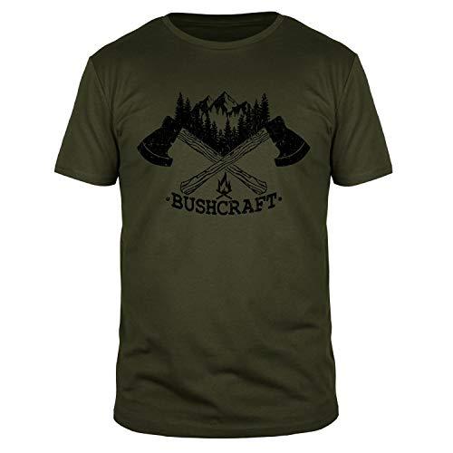 Bushcraft II - Fun Organic T-Shirt Herren, Größen S-3XL, Größe:L, Farbe:Oliv