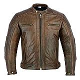 Texpeed Herren Leder Motorradjacke - Distressed Brown Leder - Abnehmbare Protektoren - L