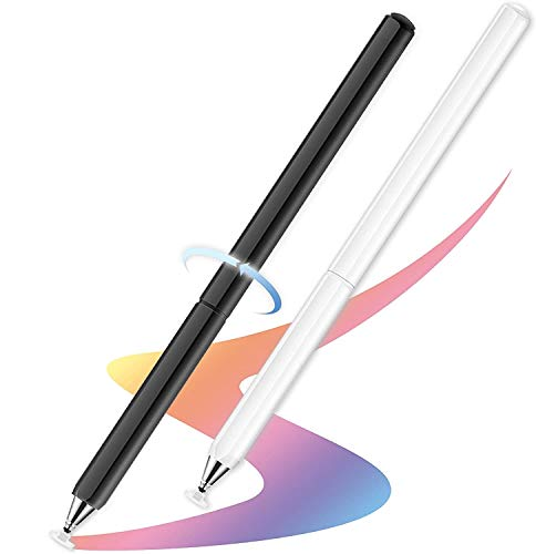 Pencil for iPad, Universal Fine Point Capacitive Disc Tip Touch Screen Pen Stylus for iPad/Pro/Samsung Galaxy/Tablet/Chormbook/All Capacitive Touch Screens (White/Black)