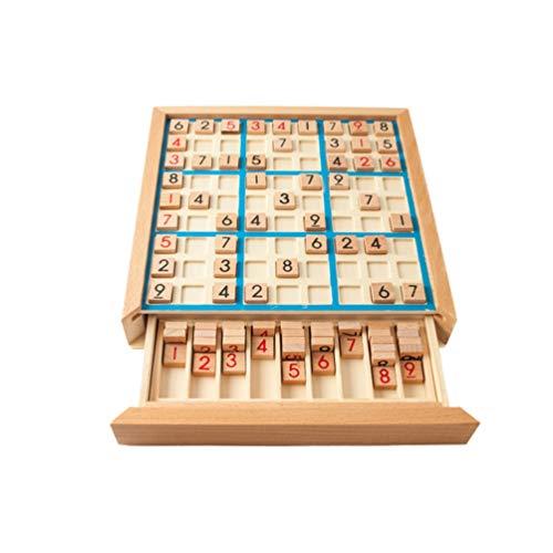 Milisten Houten Sudoku Bordspel Houten Tafelnummers Puzzelspel Logisch Redeneren Training Klassiek Puzzeltafel Speelgoed (Willekeurige Kleur)