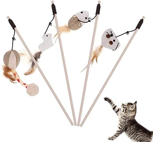 BTkviseQat Katzenspielzeug Feder, Interaktives Katzenspielzeug Set|4 Zauberstab mit 4 Stück Verschiedene Plüschtier|Premium Holzstab mit Maus, Natur-Federn,Plüschtier & 40CM Super Elastisches Seil
