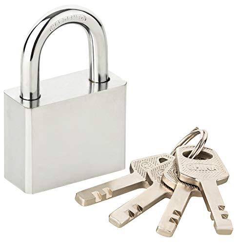 Vorhängeschloss 40x60x18mm mit 4 Stück Schlüssel – StahlGehäuse (verchromt) mit Bügeldurchmesser 6,4mm – Bügelschloss rechteckig - für Innen & Außen