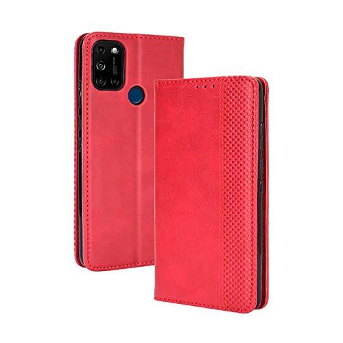 TOPOFU Leder Hülle für Wiko View 5/5 Plus, Premium Flip Wallet Tasche mit Ständer & Kartenfächer, PU/TPU Magnetic Lederhülle Handyhülle Schutzhülle für Wiko View 5/5 Plus (Rot)