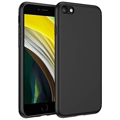 EasyAcc Coque pour iPhone Se 2020 /iPhone 7 /iPhone 8, TPU Etui Antidérapant Cover de Protection Slim Housse de Revêtement Anti-Empreintes Compatible avec iPhone Se 2020/7 / 8 - Noir