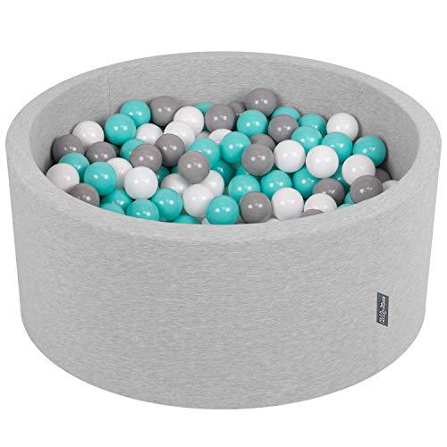 KiddyMoon 90X40cm/300 Balles ∅ 7Cm Piscine À Balles pour Bébé Rond Fabriqué en UE, Gris Clair:Blanc/Gris/Turquoise Clair