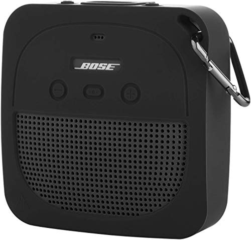 TXEsign Silicone Case for Bose SoundLink Micro Waterproof Bluetooth Portable Speaker, Protective Stand Up Case Shockproof Travel Carry Case with Carabiner (Dark Gray)