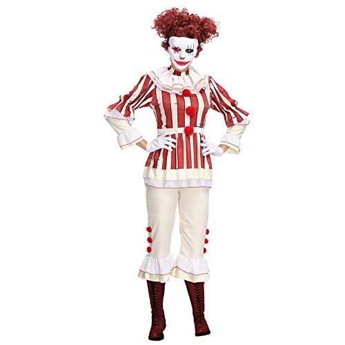 LISI Disfraz Payaso Malo IT Pennywise Clown Stephen King Traje Asesino Creepy para Adulto Mujeres Halloween,Rojo,XL
