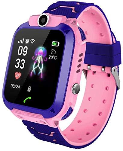 Reloj de teléfono inteligente con pantalla táctil para niños, rastreador GPS de 1.46 pulgadas con posicionamiento preciso SOS para ayudar regalo de cumpleaños de los niños - rosa