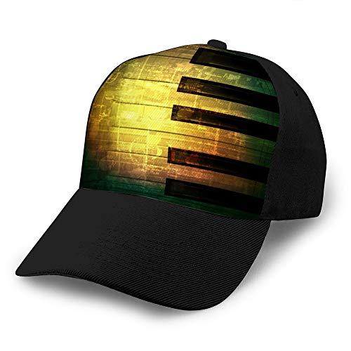 LJKHas232 1010 Erwachsene Fußball/Fußball Sport Baseball Cap (One Size) abstrakte grüne Grunge Musik Hintergrund mit Klavier Custom Denim Baseball Cap