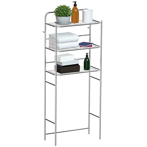 Tangkula 3-Tier Toilet Shelf Chrome Bathroom Space Saver Over The Toilet Shelf Organizer Multi-Layer Classic Design Metal Frame Study Waterproof Free Standing Bathroom Shelves (60' H)