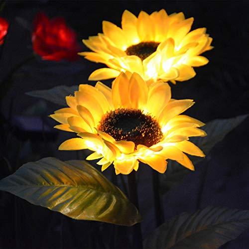 Ezzfairy Solar Garden Lights Outdoor, 2 Packs Waterproof Sunflower Solar Lights Outdoor Garden Ornaments, Decorative Landscape Solar Flower Stake Lights for Garden Yard Grave Pathway