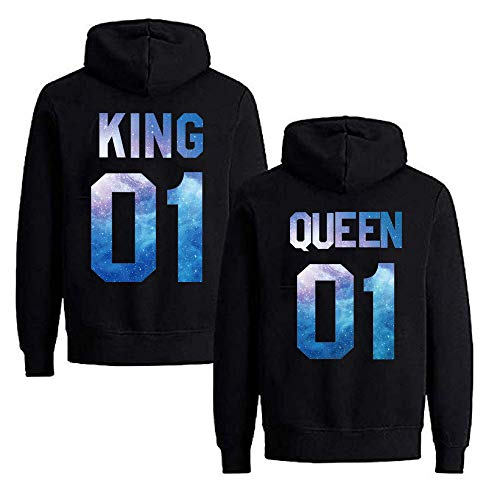 Daisy for U Pärchen Hoodie Set King Queen Pullover 1 Stücke King-Schwarz-Blau-L(Herren)