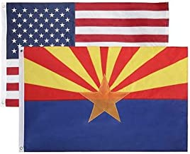 2 Pack - Nylon Sate & American Flag 3x5 FT Combo Pack - Embroidered Oxford 210D Nylon - Durable & Long Lasting – 4 Stich Hemming. Vivid & Fade Resistant. by Cascade Point (Arizona + USA (2 Pack))