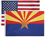State + USA Flags 3x5 Feet Combo Pack - Embroidered 200D / 210D Nylon Flags with Sewn Panels (Arizona + USA 3x5)