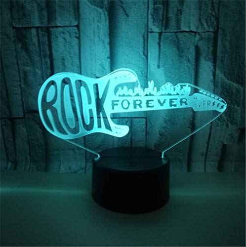 Lámpara de Noche de Ilusión óptica 3D LED de la carga USB del efecto creativo de la ilusión 3D con 7 colores que cambian para las decoraciones del hogar Guitarra rock