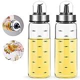 Botella dispensadora de aceite de oliva FARI - Vinagrera de medición de aceite y vinagre de vidrio de 2x300 ml para cocina (2, 300ml)