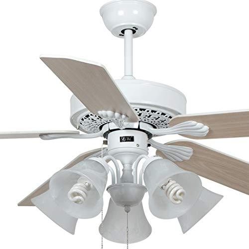 Luz de ventilador de techo 132 cm luz de ventilador blanca 5 ventilador de madera hojas sala comedor dormitorio techo ventilador luz suave