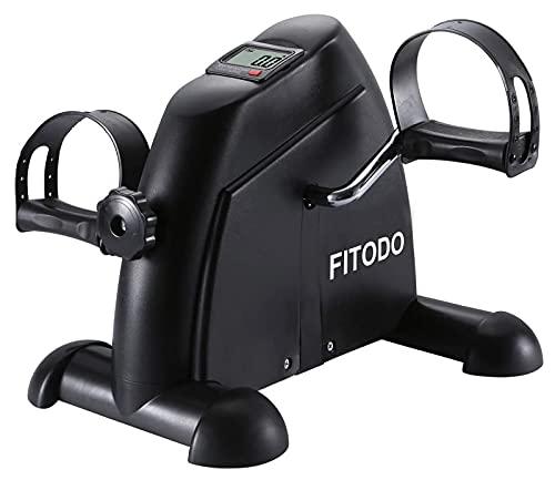 FITODO Pedales Estática Ejercicio de Mini Bicicleta con Monitor LCD para Pierna y el Brazo de Rehabilitación