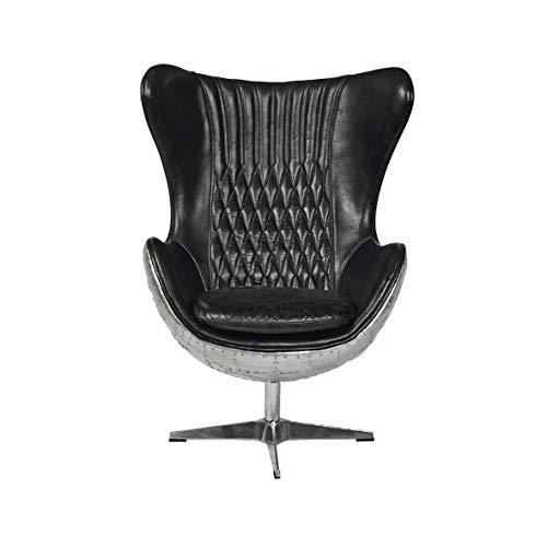 Vintage Aviator Dreh Sessel schwarz