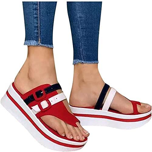 Sandalias de Plataforma de cuña para Mujer, Correa de Hebilla Verano Sin Deslizamiento Comfort Flip Flops Casual Al Aire Libre Playa Playa Calzada (Color : Red, Size : 38)