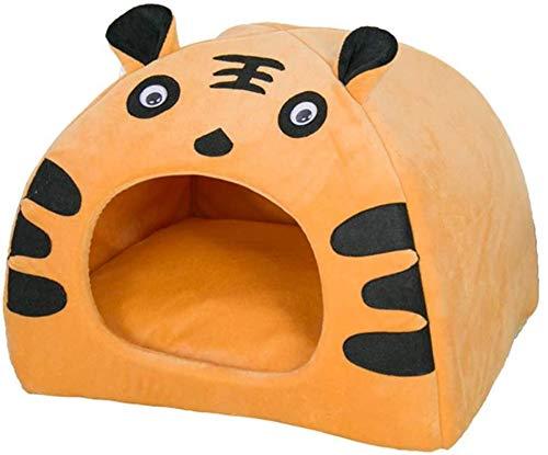 YAOSHUYANG Cama para mascotas, sofá para perro, nido con forma de tigre, nido semi cerrado para mascotas, nido para perros y gatos pequeños y medianos, amarillo-amarillo-S