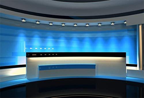 Aliyz 10x6.5ft News Broadcast Hall Telón Fondo Escritorio recepción Oficina Moderna Programa Interior Grabación Mesa Frontal Programa televisión Foto Fondo Estudio Comercial Adultos Retrato