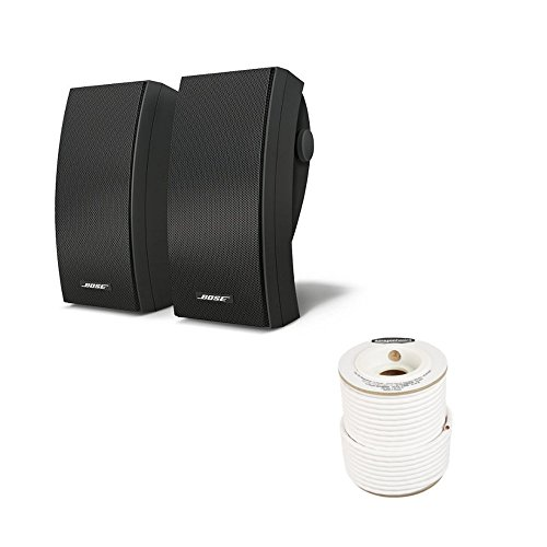 Bose 251 Environmental Outdoor Speakers (Black) with Amazon Basics Speaker Wire - 14-Gauge, 99.9% Oxygen-Free Copper, 100 Feet