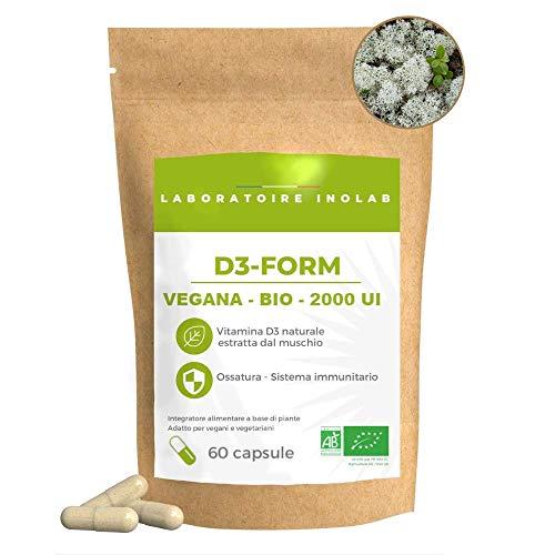Prima Vitamina D3 Biologica & Vegana Naturale Lichen   Migliore assimilazione   2000 UI/capsula   Immunità Denti Ossa Muscolo  