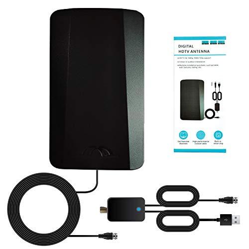 Antena TV Interior y Exterior - Alcance 320 KM - Cable 10 m - Antena HDTV con Amplificador - Potente Antena TDT 4K 1080P VHF UHF