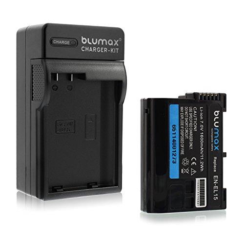 Blumax Premium Akku 1600mAh + 1x Ladegerät für Nikon EN-EL15