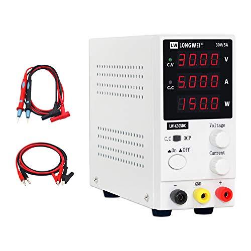Fuente de alimentación de corriente variable,LONGWEI 0-30V / 0-5A,Fuente de alimentación regulada de conmutación ajustable digital, con cables de pinza y cable de alimentación UE