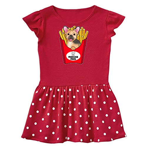 inktastic Cute Frenchie in French Toddler Dress 5-6 Red with Polka Dots 39465
