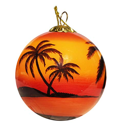 Hand Painted Glass Christmas Ornament - Sunset Palms Florida Keys