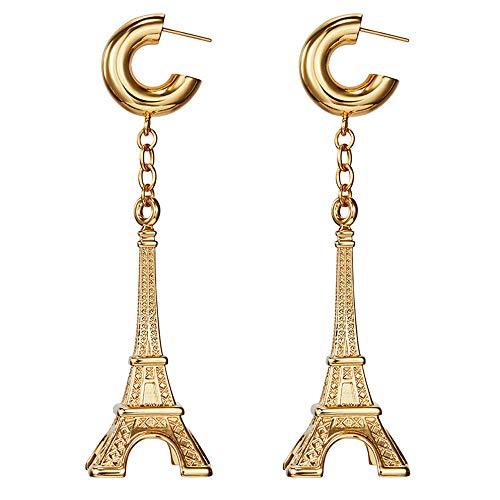 QTMY Fashion Eiffel Tower Dangle Drop Earrings for Women,Gold