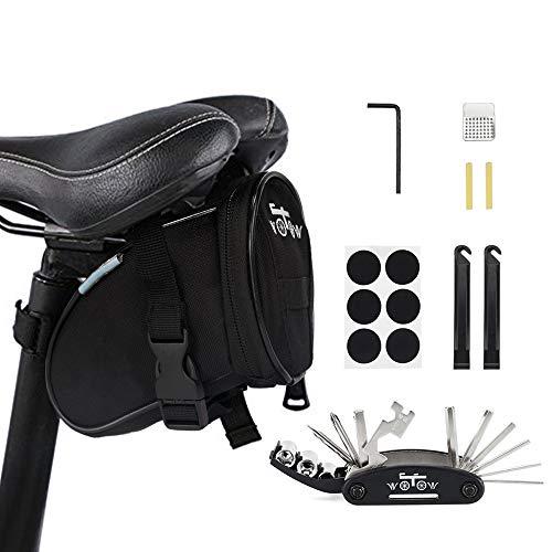 WOTOW Fahrrad-Rahmentasche für das Smartphone, vorderer Stangenbereich, Oben, Mountainbike/Rennrad, Doppel-Tasche mit Touchscreen-Funktionalität (16 in 1 Multifunktionswer kzeug)