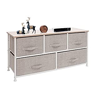 crib bedding and baby bedding east loft extra wide storage cube dresser organizer for closet, nursery, bathroom, laundry or bedroom 5 fabric drawers, solid wood top, durable steel frame natural