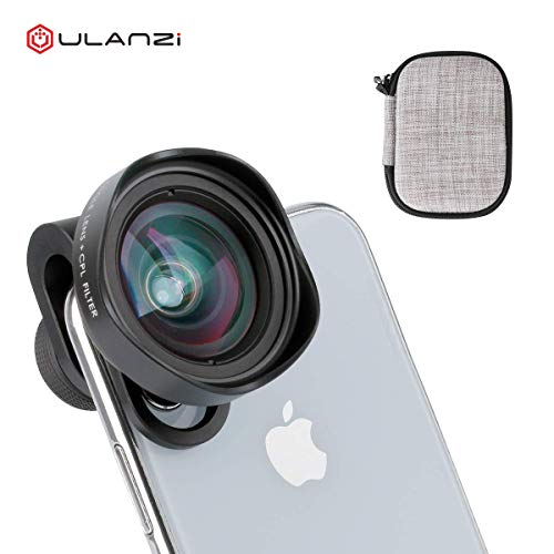 Clip-on Lens for iPhone -ULANZI 16mm Mobile Camera Wide-Angle Lens + CPL Filter 4K HD No Distortion DSLR Effect for iPhone Xs X XS MAX 7 8 Plus Android Phones Vlogger
