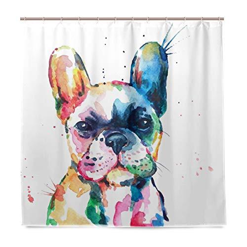 Wamika Duschvorhang mit Wasserfarben-Motiv Französische Bulldogge, Heimdekoration, Stoff, schimmelresistent, wasserdicht, Badewannenvorhänge Tuch mit 12 Haken, 183 cm x 183 cm