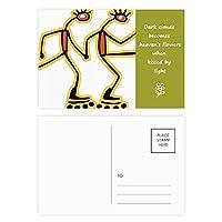 エジプトのフィギアローラースケートのパターン 詩のポストカードセットサンクスカード郵送側20個