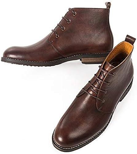 ZHRUI Lace up Polierte Lackstiefel für Herren Durable Non Slip Comfort Stiefel (Farbe   Braun, Größe   EU 40)