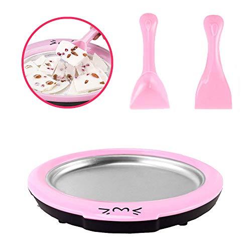 GsMeety Eismaschine, Cartoon Fried Eismaschine Fried Joghurt-Maschine Pan Startseite Stir Joghurt-Maschine mit 2 Stück Gebratenes EIS Schaufel,Rosa