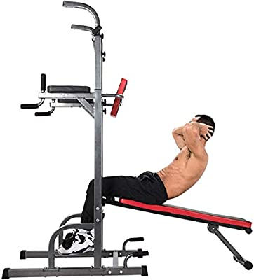 ZELUS Multifunctional Power Tower Workout Pull Up Dip Station Adjustable Height Pull Up Bar Station Tower with Sit up Bench for Indoor Home Gym Fitness Dip Stand (Power Tower w/Bench)