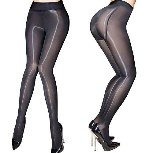 HTRUIYATY Medias transparentes de mujer Medias de aceite Medias brillantes Pantimedias Pantyhose de seda sexy (Negro)